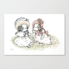 """The Dressed Dogs """"Japanese Chin Girls"""" Canvas Print"""