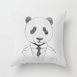 Geometric Panda Throw Pillow