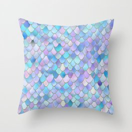 Trendy Ocean Blue and Purple Watercolor Glitter Mermaid Scales Throw Pillow