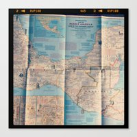 vintage map Canvas Prints featuring Map by Yellow Barn Studio