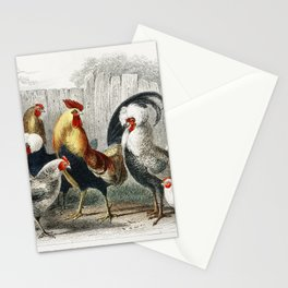 Game Cock, Silver Spangled, White Feathered Bantam Hen, Dorking Hen, Black Polish Hen, Malay Cock, a Stationery Cards