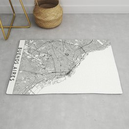 Buenos Aires White Map Rug