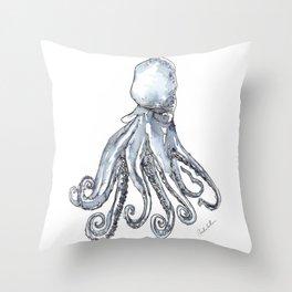 Octopus Watercolor Sketch Throw Pillow