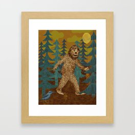 Bigfoot birthday card Framed Art Print