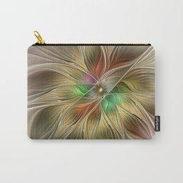 Golden Flourish, Abstract Fractal Art Carry-All Pouch
