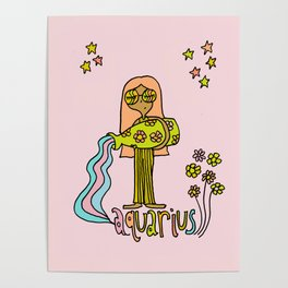 Age of Aquarius zodiac art by surfy birdy Poster