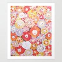 Lion Flowers Art Print