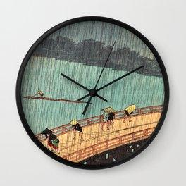 Utagawa Hiroshige - One Hundred Famous Views of Edo - Sudden Shower over Shin-Ohashi Bridge and Atake Wall Clock