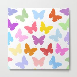 Multicoloured Butterflies Pattern Metal Print