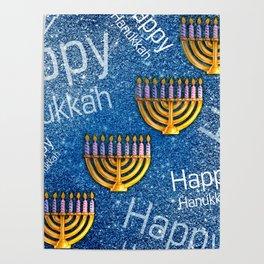 Happy Hanukkah Holidays Menorah Pattern Poster