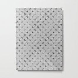 Black on Gray Snowflakes Metal Print