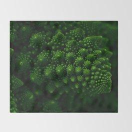 Macro Romanesco Broccoli - Low Key Throw Blanket