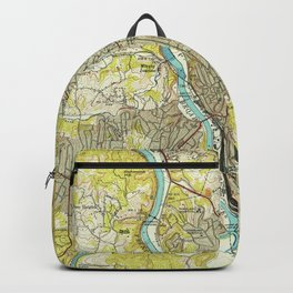 Vintage Map of Asheville North Carolina (1943) Backpack