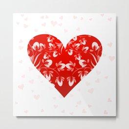 Romantic Floral Valentine Heart Metal Print