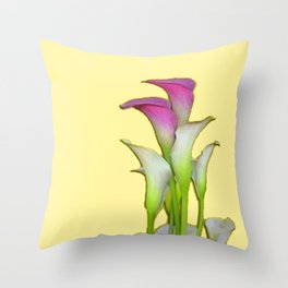 PURPLE & WHITE CALLA LILIES FLORAL YELLOW ART Throw Pillow