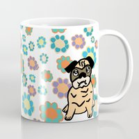 hippy Mugs featuring Hippy Pug  by lindseyclare