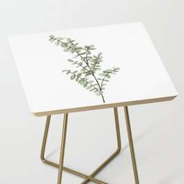 Baby Blue Eucalyptus Watercolor Painting Side Table
