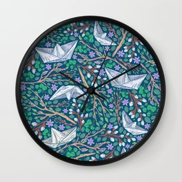 Paper boats with willow branches and dasies on dark background Wall Clock