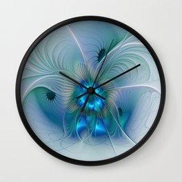 Standing Ovations, Abstract Blue Fractals Art Wall Clock