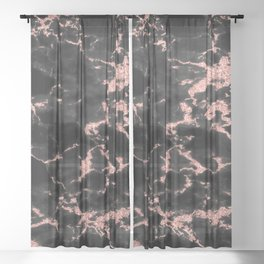 Beautiful Black marble with Glittery Rose Gold Veins Sheer Curtain