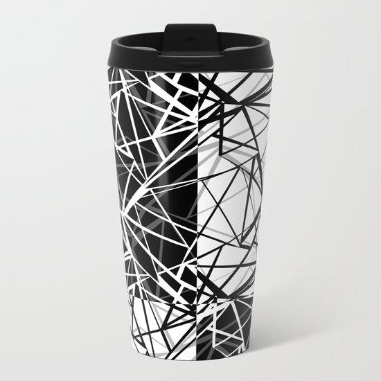 Black white combination pattern . Mesh . Metal Travel Mug