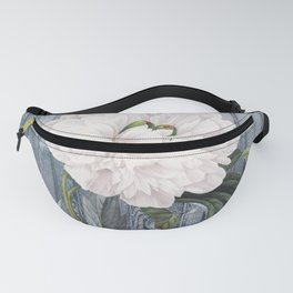 White Peony On Winter Grey Fence Fanny Pack