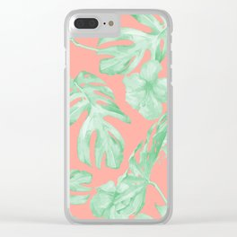 Tropical Palm Leaves Hibiscus Flowers Coral Green Clear iPhone Case