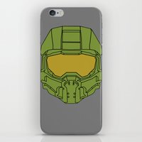 master chief iPhone & iPod Skins featuring Master Chief Helmet - Halo MCC by RoboKev