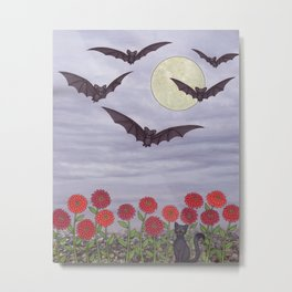 bats, zinnias, and black cat Metal Print