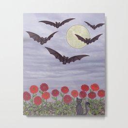 bats, zinnias, and black cat Metal Print