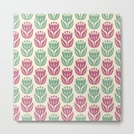 Mid Century Modern Flower Pattern Mauve and Sage 431 Metal Print