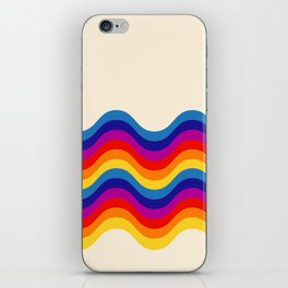 Wavy retro rainbow iPhone Skin