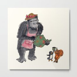 Gorillas Tea Party Metal Print