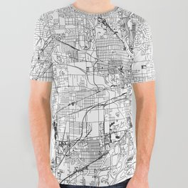 Indianapolis White Map All Over Graphic Tee
