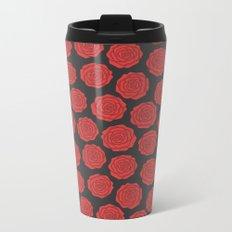 Red Roses Pattern Metal Travel Mug