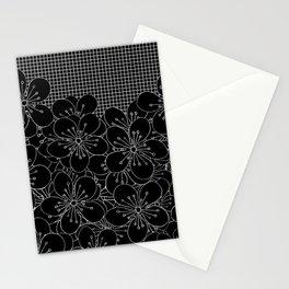 Cherry Blossom Grid Black Stationery Cards