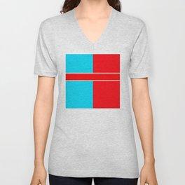 Team Colors 6..red,light blue Unisex V-Neck