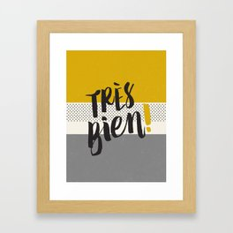 Très Bien on Stripes Framed Art Print