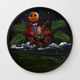 Jack Flying in Gump at Night Wall Clock