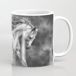 Running white horse - equine art Coffee Mug