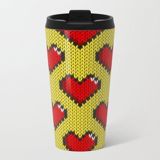 Knitted heart pattern - yellow Metal Travel Mug