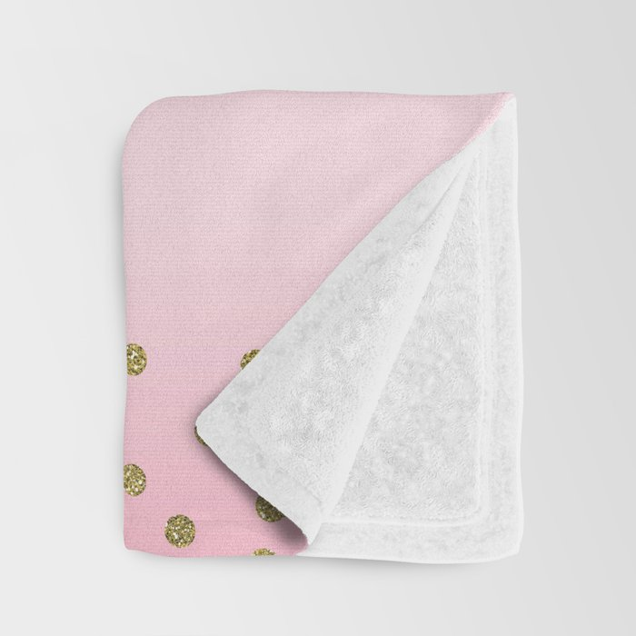 Pink & Gold Cute Floral Unicorn Throw Blanket