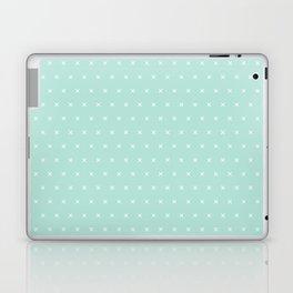 Aqua blue and White cross sign pattern Laptop & iPad Skin