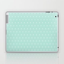 Aqua blue and White cross sign pattern Laptop & iPad Skin