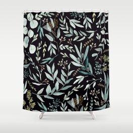 Black Eucalyptus Pattern Shower Curtain