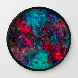 psychedelic geometric triangle abstract pattern in pink red blue Wall Clock
