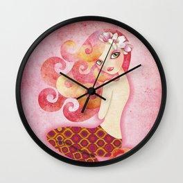 Coraleen, Mermaid in Pink Wall Clock