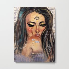 No soul. Digital and watercolor woman. Vibrant bright colors. Energy. Metal Print