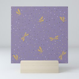 Gold Dragonfly Christmas seamless pattern and Gold Confetti on Purple Background Mini Art Print