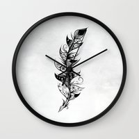 feather Wall Clocks featuring Feather by LouJah